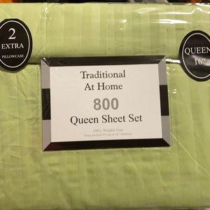 6pc Queen Sheet Set  Color Line Green